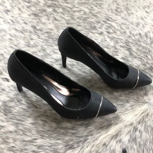 Black Snake Skin Textured CK Pumps